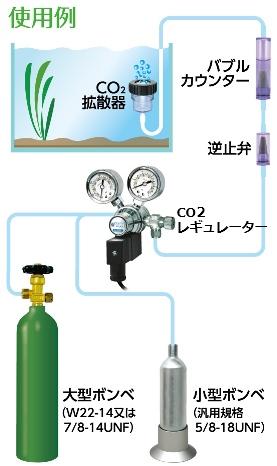 CO2添加用品 接続図解 レギュレーター・バブルカウンター・拡散器など