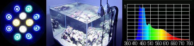 水槽用照明・LEDスポットライト 【クリスタルエリート20】アクアブルー マルチスペクトル┃明るいブルー┃カラーイメージ
